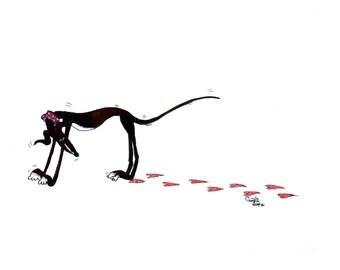 Canvas - Black/Brindle/Blue Greyhound with Heartprints
