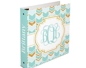 Personalized binder, boho chic chevron arrow print 3 ring binder, back to school supplies, school binder, binder organizer, office organizer