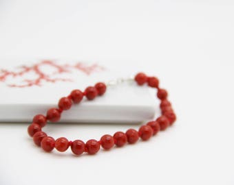 Full-bodied red coral bracelet certified 1st choice B6