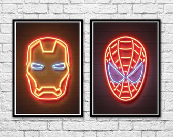 2 Art-Posters 30 x 40 cm - Limited Edition 50 ex. - Duo Spiderman and Ironman Neon Portraits