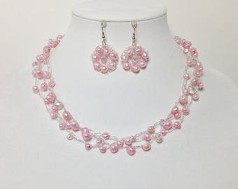 Pink Cultured Freshwater Pearls, Pink Faceted Glass, Non-Tarnish Silver Plated Wire, Wire Crochet, Necklace, Earrings