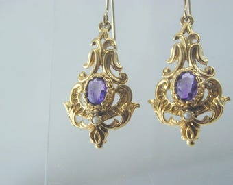 Amethyst & Pear Renaissance style 1972 9ct gold drop earrings french hook 9.2g