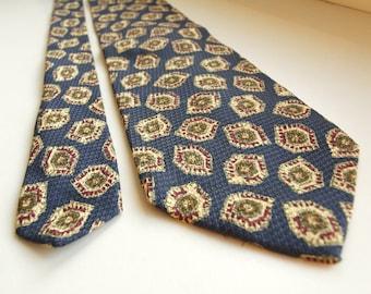 Vintage Guy Laroche tie, silk necktie blue and beige color silk tie  Paris Monsieur navy blue base geometric ornaments beige color