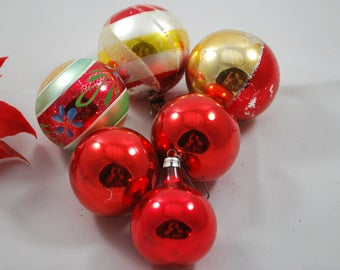 Six Mercury Glass Ornaments, Christmas Tree Decoration, Vintage 1950s Holiday