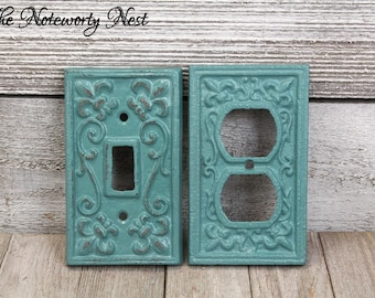 ANY color- NEW COLOR Cast Iron switch plates / light switch covers / custom switchplates / cast iron light covers / vintage teal