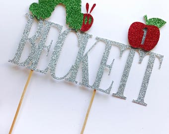 Very Hungry Caterpillar cake topper/ Very Hungry Caterpillar birthday/ Name and Age cake topper