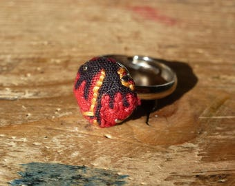 Cute round embroidered African fabric ring