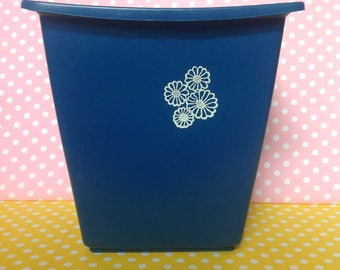 Vintage Blue Rubbermaid waste basket, navy blue trashcan, trash can, retro, flower power, 1970s, 1980s