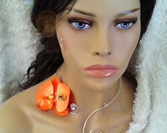 Orange and silver necklace, diamond and artificial customize Orchid