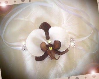 Orchid and rhinestones bracelet