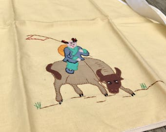 Vintage Linen Hostess Apron Chinese Farmer on Buffalo Asian Art Textile with pockets