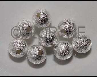 8 round beads sparkling 8mm silver-plated