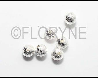 10 round beads sparkling 6mm silver-plated