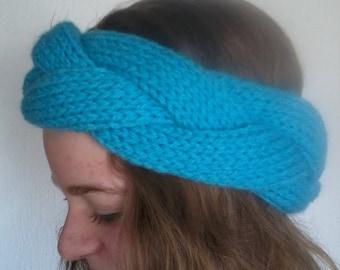 headband three light blue woven stripes