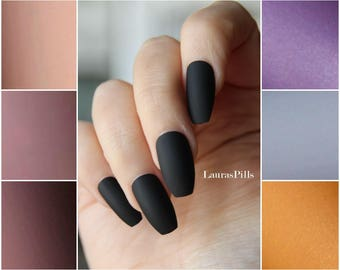 Black coffin shaped false nails ! Ballerina nails, matte finish. Press on nails, stick on nails, edgy shape.