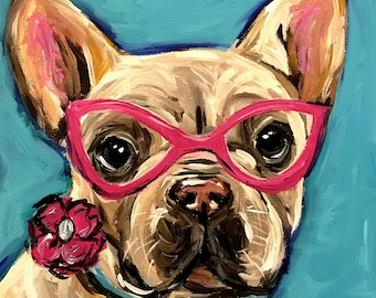 French Bulldog Art Print.  French Bulldog canvas or paper art print. Frenchie art print. Whimsical and colorful French Bulldog art