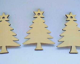 70mm Wooden Christmas Tree Tag