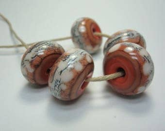 Five Large Lampwork Beads, Silvered Ivory Glass Beads. Earthy Focals. Pale Orange Coral, Light Pink. Rustic Feel. Ready To Ship.
