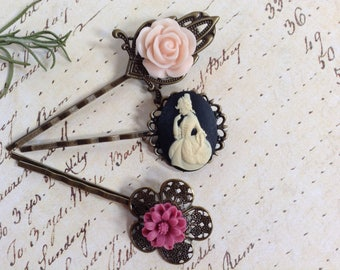 Vintage Style Pale Pink Flowers And Cameo Hair Clips