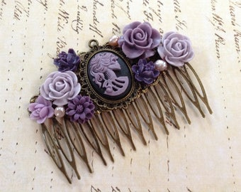 Lavender She Skull And Brass Decorative Comb