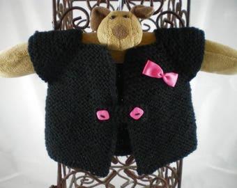 Haut005 - Cardigan / jacket black and pink sleeves short
