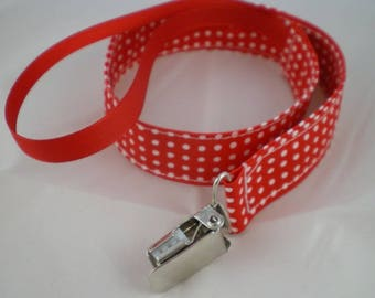 Tetine010 - Pacifier clip red polka dots