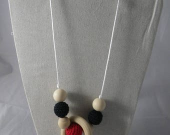 CollierPA017 - Babywearing necklace / nursing black and Red