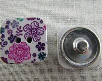 Snap button square wooden pink and purple flowers
