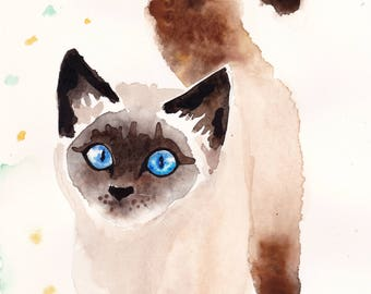Siamese Kitten watercolor print, Cat art 8x10 or 4x6