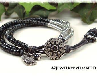 Beaded Wrap Bracelet/ Black Bracelet/ Seed Bead Leather Wrap Bracelet/ Seed Bead Bracelet/ Boho Wrap Bracelet/ Seed Bead Wrap Bracelet.
