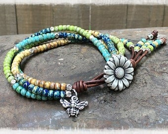 Seed Bead Wrap Bracelet/ Beaded Wrap Bracelet/ Boho Leather Wrap Bracelet/ Gift For Her/ Bohemian Leather Wrap Bracelet/Multi-color Bracelet