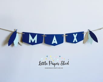 Handmade Birthday Name Banner Up To 10 Letters - Tribal Feather Theme Navy & Mint