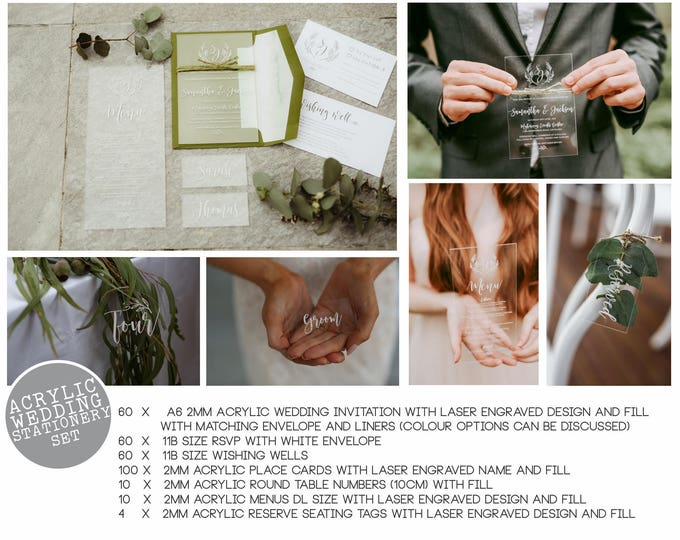 Featured listing image: Wedding Stationery Package - Acrylic wedding stationery package