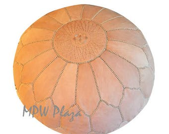 "NEW COLLECTION-  Arch Traditional  Moroccan Leather Pouf 19""Hx28""D Custom"