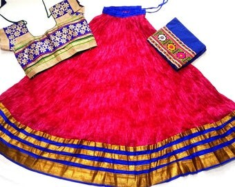 Navratri chaniya choli Pink colour with embroidery work Lehenga Choli by Indian Designer.