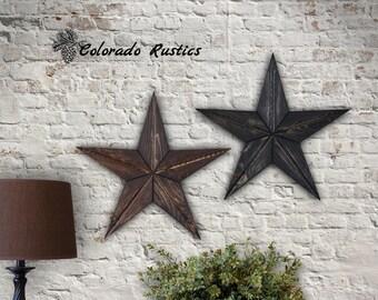 Rustic Star, Wood Wall Art, Texas Star Décor, Country Star, Reclaimed Wood Art, Rustic Wall Décor, Primitive Star, Dark Walnut, Set of 2