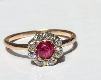 Reserved for Connie - Early Victorian Ruby Mine Cut Diamond Ring in 14K Gold circa 1840