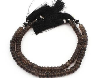 Xmas  in July 2 Strands Smoky Quartz Faceted Rondelles - Smoky Quartz Rondelle Beads 7mm 8 Inches SB245