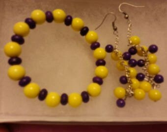 Purple and Yellow Beaded Set