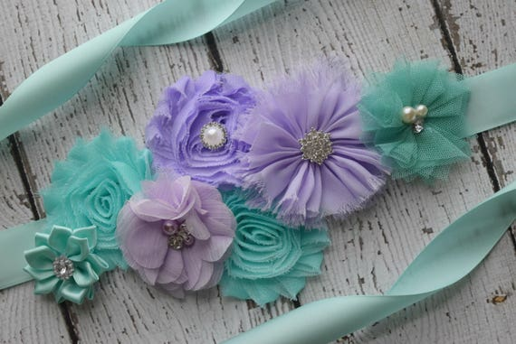 Sash, aqua violet Sash, flower Belt, maternity sash, wedding sash, baby shower sash