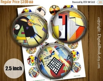 SALE 50% Bauhaus image - Digital Collage Sheet 2.5inch Printable Circles Download for cupcake toppers Pocket Mirrors Magnets - 280