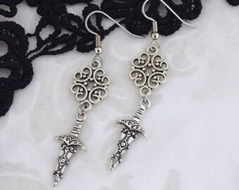 The Huntress - Medieval Dagger or Sword Earrings - small dagger earrings - stainless steel ear hooks - sterling silver ear hooks