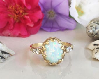20% off- SALE! White Opal Ring - Statement Ring - Dainty Ring - Oval Ring - Bezel Ring - Gold Ring - Gemstone Ring - Opal Jewelry