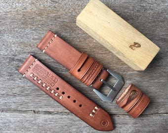 Handmade genuine leather strap 24mm.