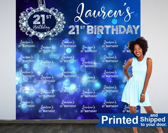 Diamond Sparkle Personalized Photo Backdrop -21st Birthday Party Photo Backdrop- Custom Photo Backdrop -Step and Repeat Backdrop