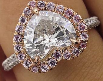 2.64ct Estate Vintage Heart Diamond Halo Engagement Wedding Platinum Rose Gold Ring