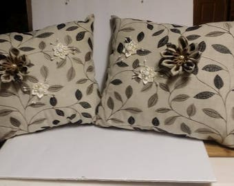 Handmade two decorated pillow