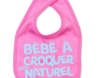 Pink baby bib for little girls to eat