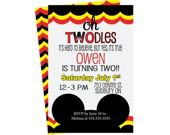 Twodles Invite, Oh Toodles Birthday, 2nd Birthday, 2nd Birthday Invite, Mickey Mouse Invite, Oh Twodles Invite, Mickey Mouse Clubhouse