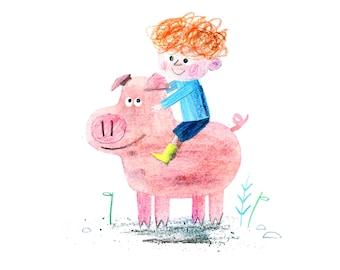 Pig and Boy Print